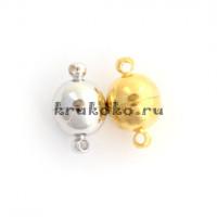 Магнитная застежка-шарик, 15x10мм, золото