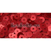 Итальянские плоские пайетки Rosso Metal, 4мм, 3гр (4369)
