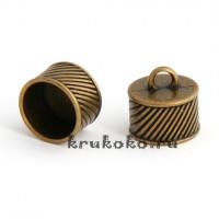 Колпачок-циллиндр рифленый, ВД 14мм, бронза