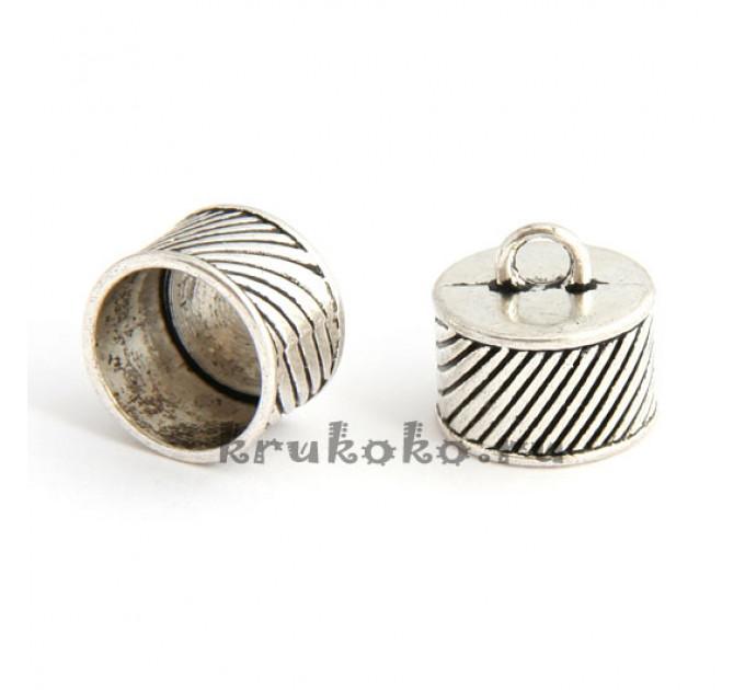 Колпачок-циллиндр рифленый, ВД 14мм, серебро