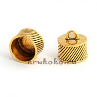 Колпачок-циллиндр рифленый, ВД 14мм, золото