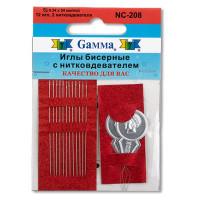 """Иглы бисерные """"Gamma"""", сталь, d 0.34мм, с двумя нитковдевателями, 12шт"""
