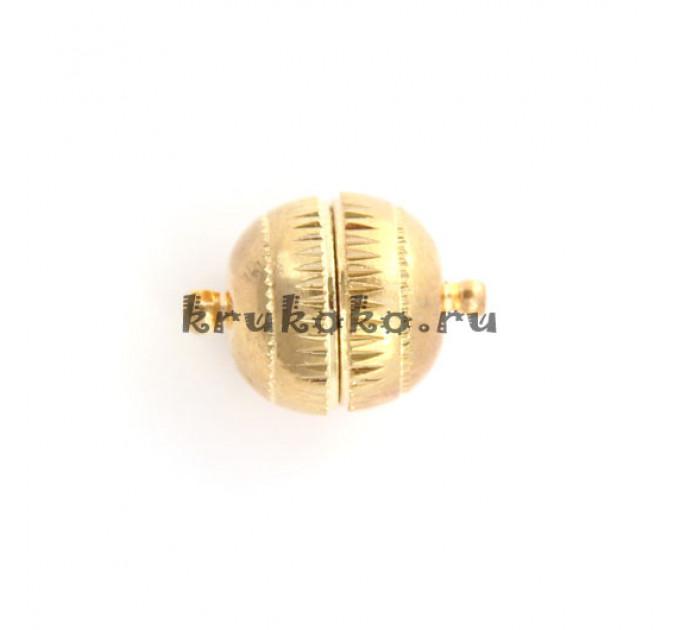 Магнитная застежка-шарик с рисками, 20х14мм, золото