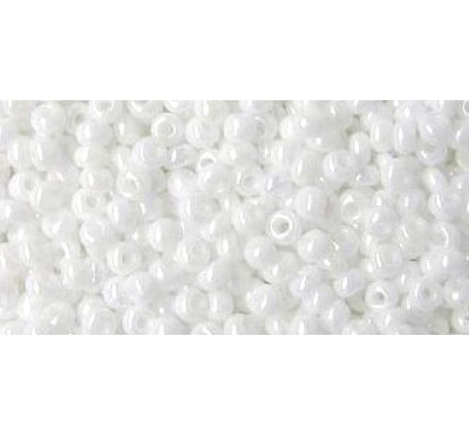 Бисер Preciosa 10/0 №46205 Непрозрачный радужный белый, 1 сорт (50 гр)