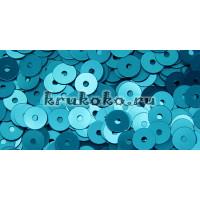 Итальянские плоские пайетки Turchese Metal, 4мм, 3гр (6119)