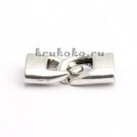 Застежка-колпачок плоская, ВД 12х4, серебро