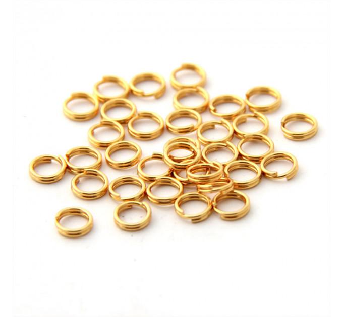 Колечко двойное, 6мм, нержавеющая сталь, золото (2 шт.)