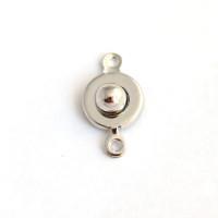 Застежка-кнопочка 19х9 мм, родиевое покрытие