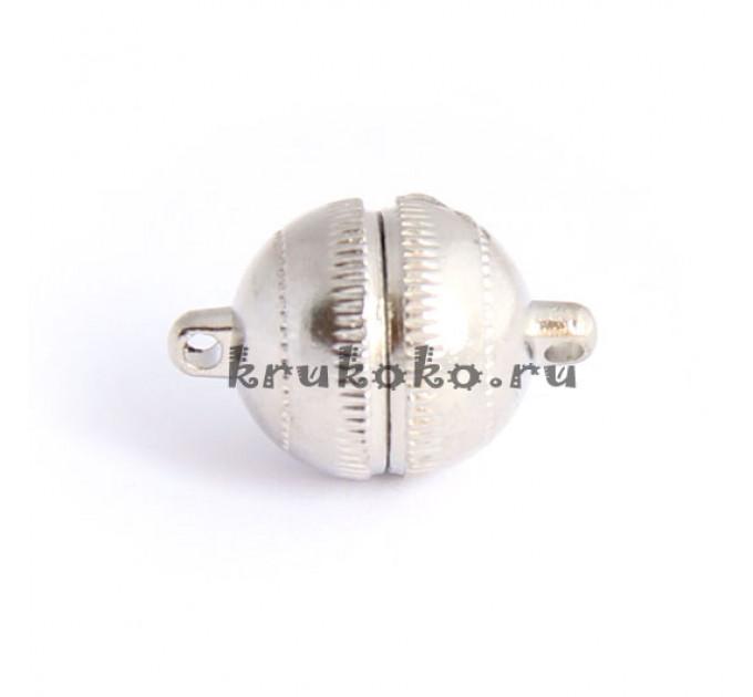 Магнитная застежка-шарик с рисками, 18х12мм, серебро