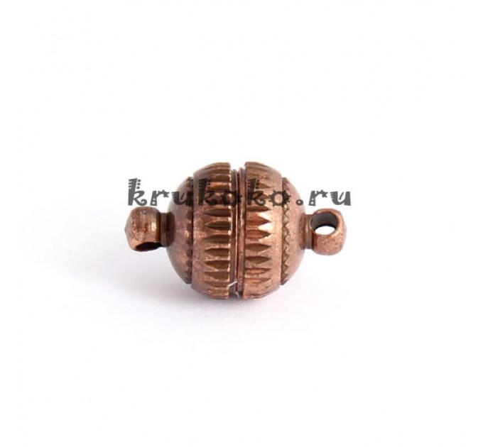 Магнитная застежка-шарик с рисками, 16х10мм, медь