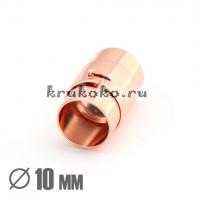 Магнитная застежка, байонет, ВД 10мм, розовое золото