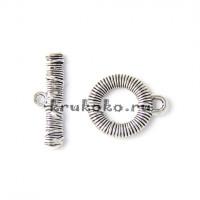 Тоггл Пружинка, 16х20 мм, серебро