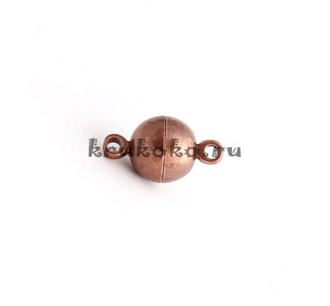 Магнитная застежка-шарик гладкая, 14х8мм, медь