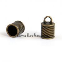 Колпачок-циллиндр рифленый, ВД 10мм, бронза