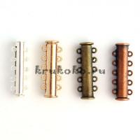 Магнитная застежка-слайдер, 5-петельная, 30х10мм, медь