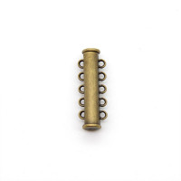 Магнитная застежка-слайдер, 5-петельная, 30х10мм, бронза