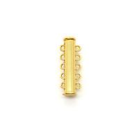 Магнитная застежка-слайдер, 5-петельная, 30х10мм, золото