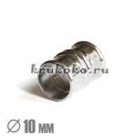 Магнитная застежка Бамбук, ВД 10мм, серебро