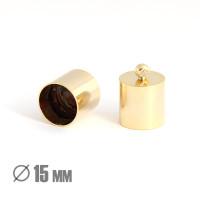 Колпачок-циллиндр, ВД 15мм, позолота 16К