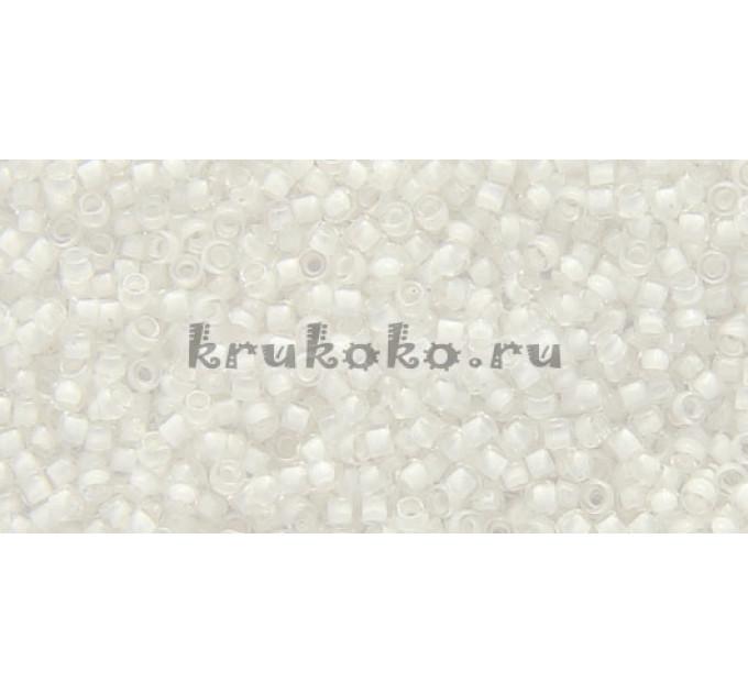Бисер Toho 15/0 Окрашенный изнутри хрусталь + снежно-белый (TR-15-981)